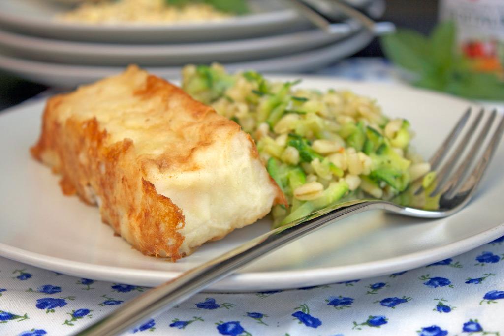 Merluzzo con insalata di grano, zucchine e menta 3