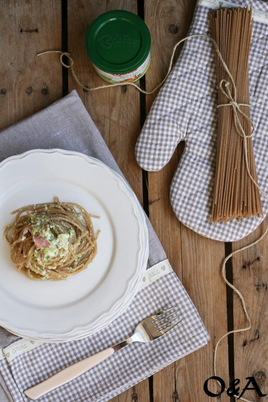 Spaghetti con crema di zucchine ricotta e mortadella-1