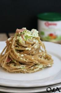 Spaghetti con crema di zucchine ricotta e mortadella