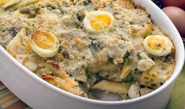 pasta-al-forno-carciofi-uova-piselli