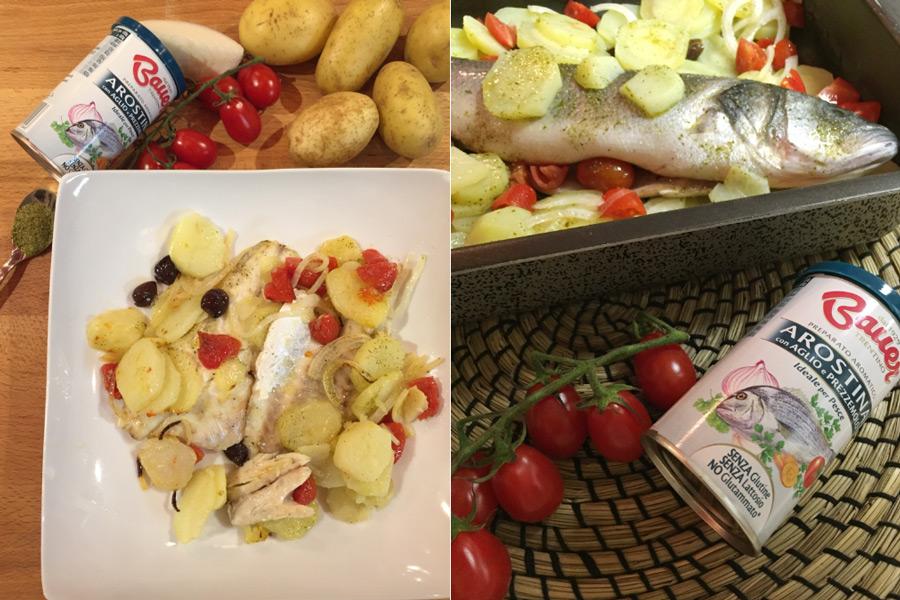 spigola-alla-mediterranea-patate-olive-pomodorini