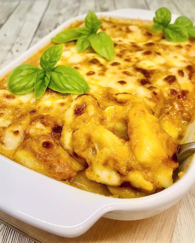 Gnocchi al Curry con crema di peperoni